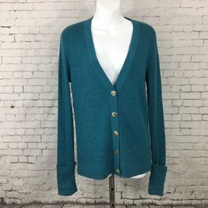 Tory Burch XL ribbed fitted cardigan sweater